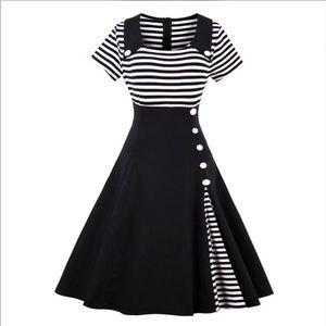 Adorable Pin Up Black & White Vintage Dress